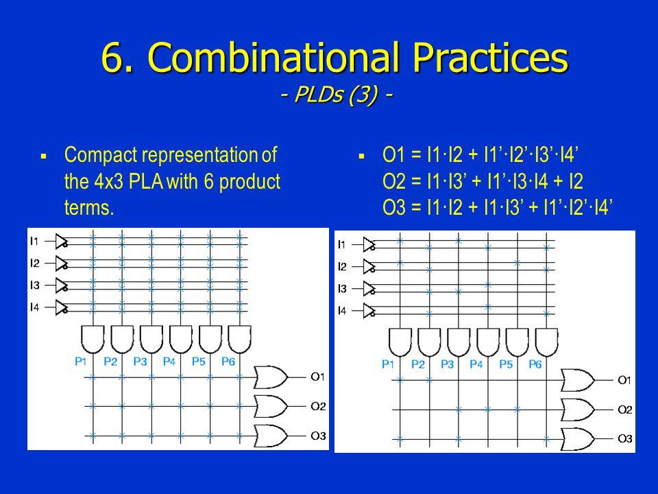 6. Combinational Practices - PLDs (3) - Compact representation of the 4x3 PLA with 6 product terms. O1 = I1·I2 + I1·I2·I3·I4 O2 = I1·I3 + I1·I3·I4 + I