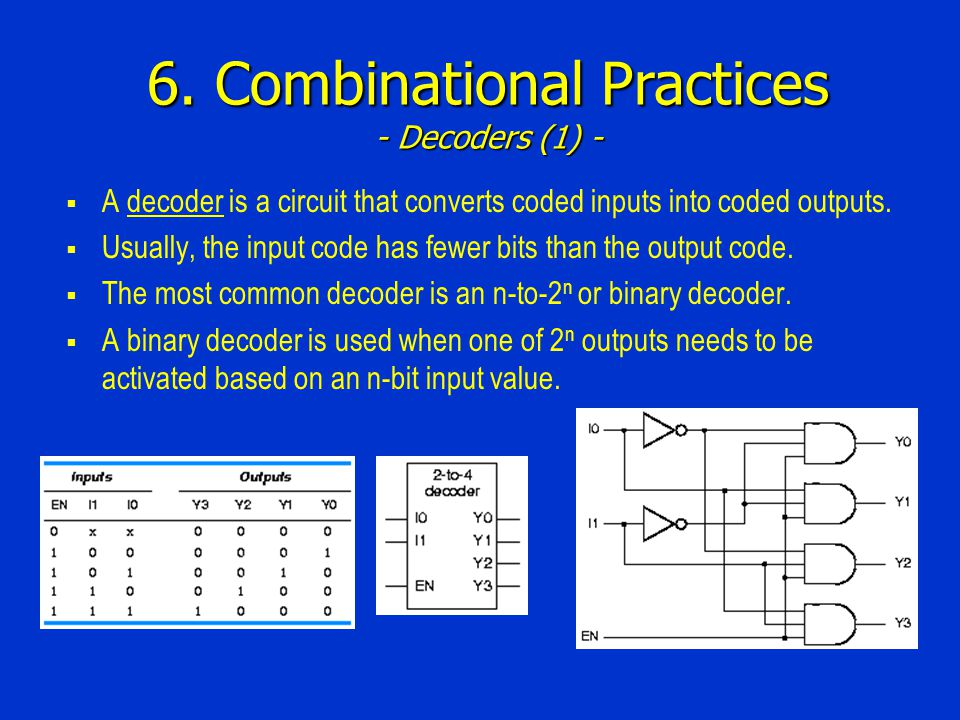 6. Combinational Practices - Decoders (1) - A decoder is a circuit that converts coded inputs into coded outputs. Usually, the input code has fewer bi