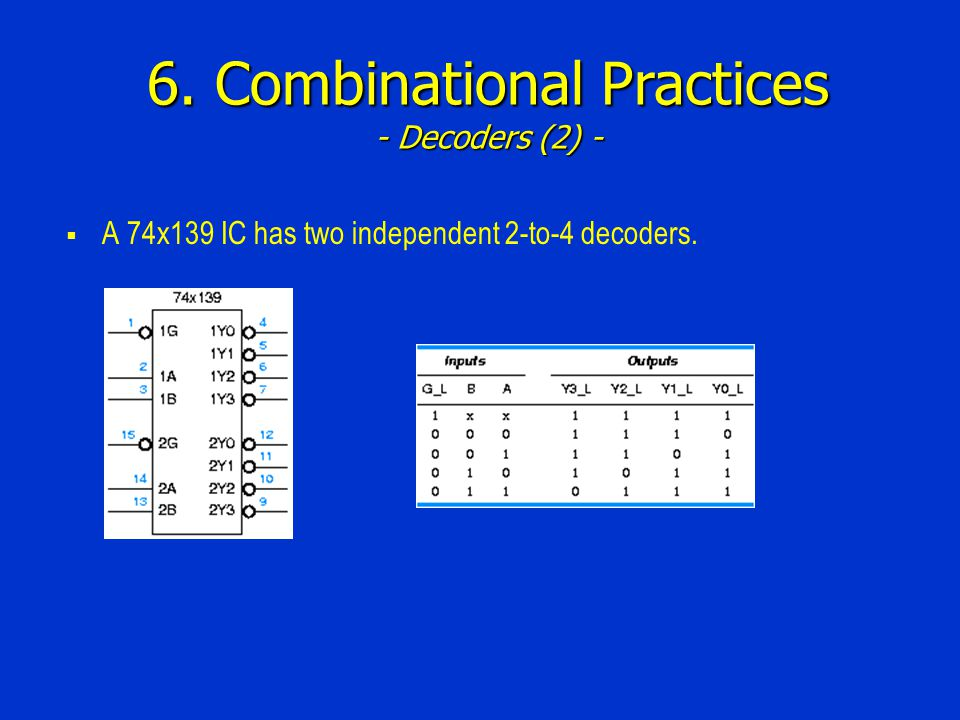 6. Combinational Practices - Decoders (2) - A 74x139 IC has two independent 2-to-4 decoders.