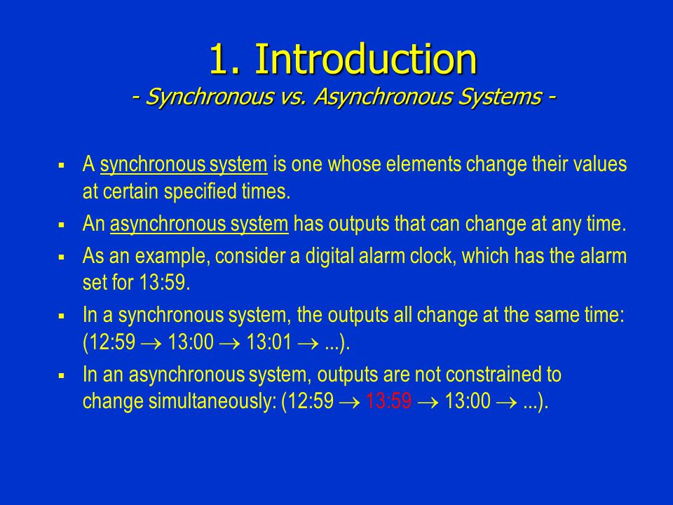 1. Introduction - Synchronous vs.