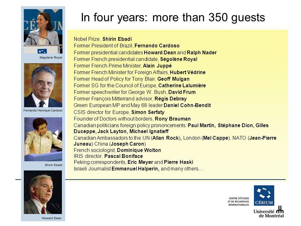 www.cerium.ca Nobel Prize, Shirin Ebadi Former President of Brazil, Fernando Cardoso Former presidential candidates Howard Dean and Ralph Nader Former