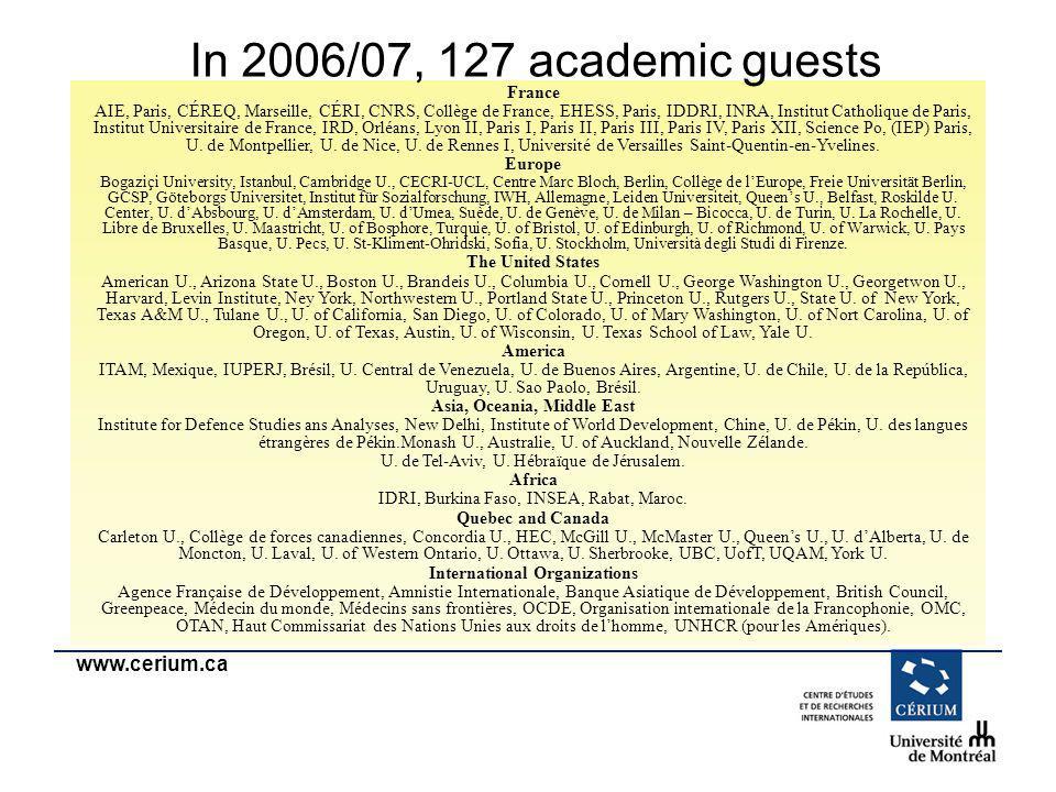 www.cerium.ca France AIE, Paris, CÉREQ, Marseille, CÉRI, CNRS, Collège de France, EHESS, Paris, IDDRI, INRA, Institut Catholique de Paris, Institut Un