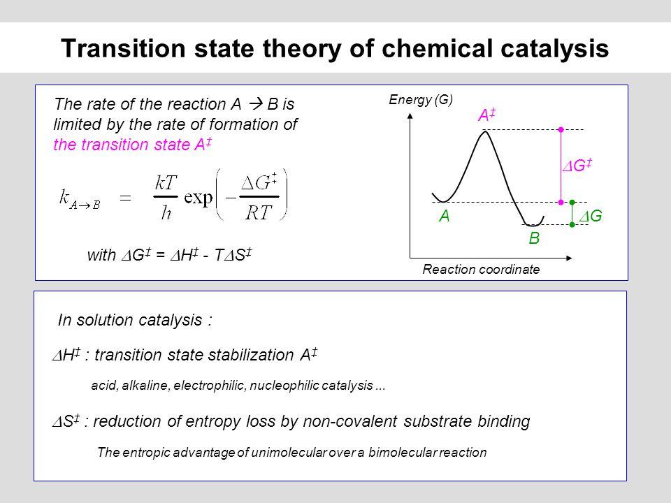 Intramolecular catalysis and effective concentration Intra-molecular reaction k 1 = 0.02 s -1 V transfert = k 1 [ acyl ] Inter-molecular reaction ++ k 2 = 10 -10 M -1 s -1 V transfert = k 2 [ acyl ] [ carboxyl ] Carboxyl effective concentration : k 1 / k 2 = 2.10 7 M