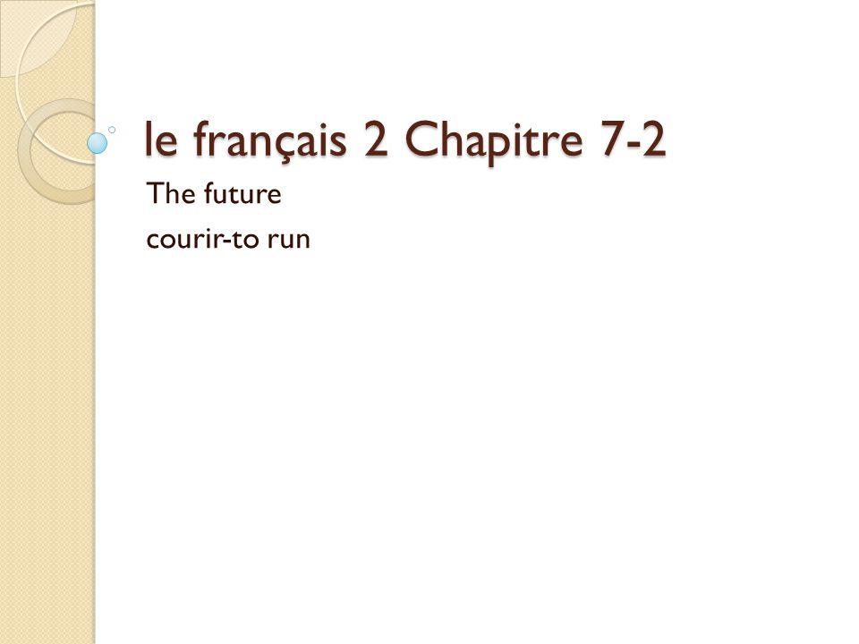 le français 2 Chapitre 7-2 The future courir-to run