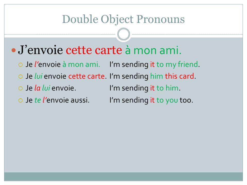 Double Object Pronouns Jenvoie cette carte à mon ami.