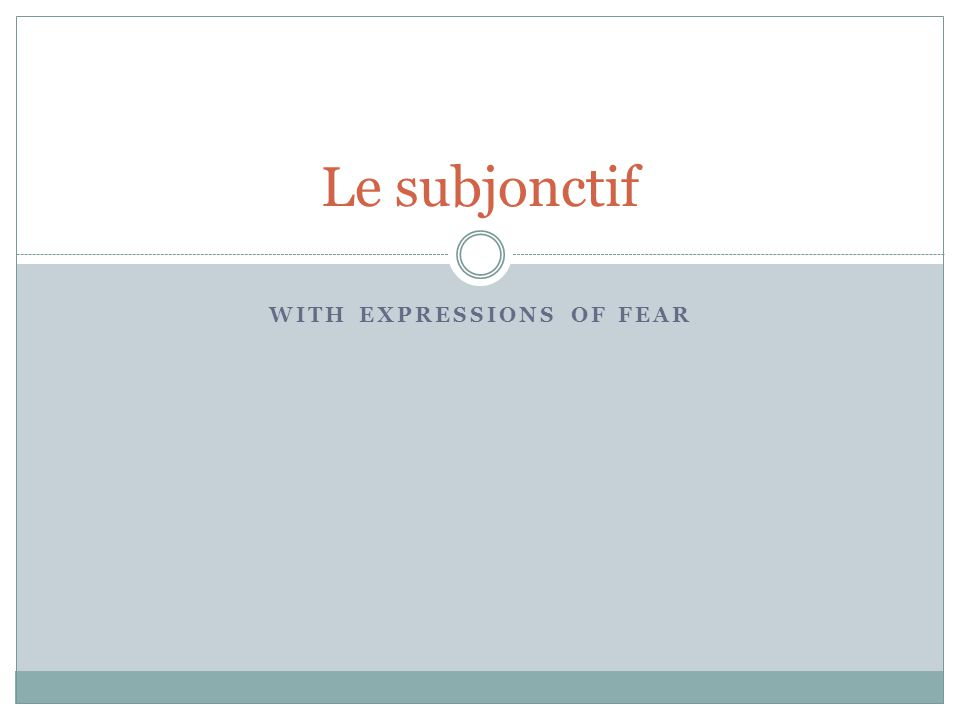 WITH EXPRESSIONS OF FEAR Le subjonctif