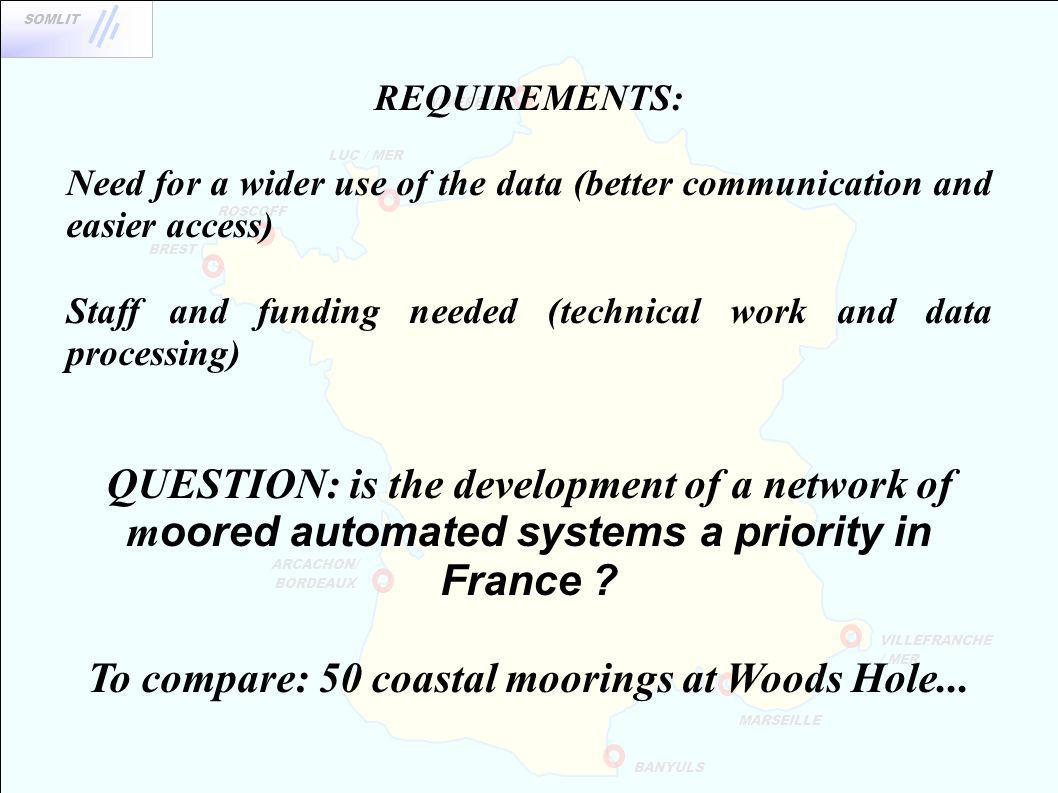 BREST WIMEREUX ROSCOFF BANYULS MARSEILLE VILLEFRANCHE / MER ARCACHON/ BORDEAUX SOMLIT LUC / MER REQUIREMENTS: Need for a wider use of the data (better communication and easier access) Staff and funding needed (technical work and data processing) QUESTION: is the development of a network of m oored automated systems a priority in France .