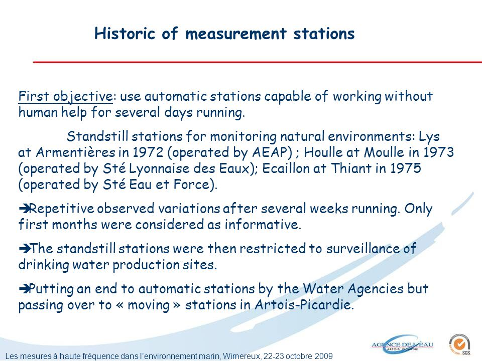 Les mesures à haute fréquence dans lenvironnement marin, Wimereux, 22-23 octobre 2009 Historic of measurement stations First objective: use automatic