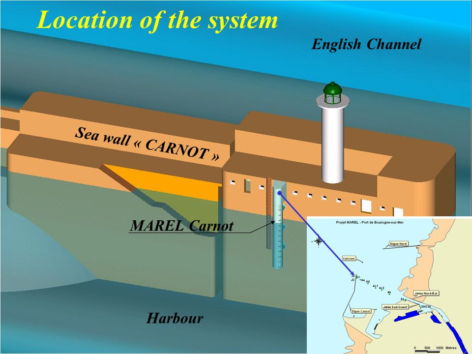 Sea wall « CARNOT » Location of the system Harbour English Channel MAREL Carnot