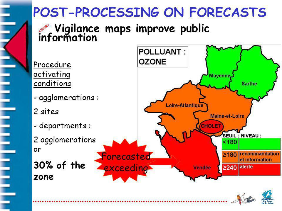 POST-PROCESSING ON FORECASTS ! Vigilance maps improve public information Forecasted exceeding Procedure activating conditions - agglomerations : 2 sit