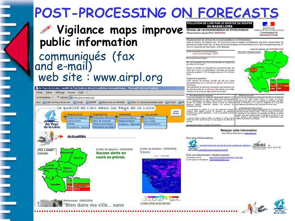 communiqués (fax and e-mail) web site : www.airpl.org POST-PROCESSING ON FORECASTS ! Vigilance maps improve public information