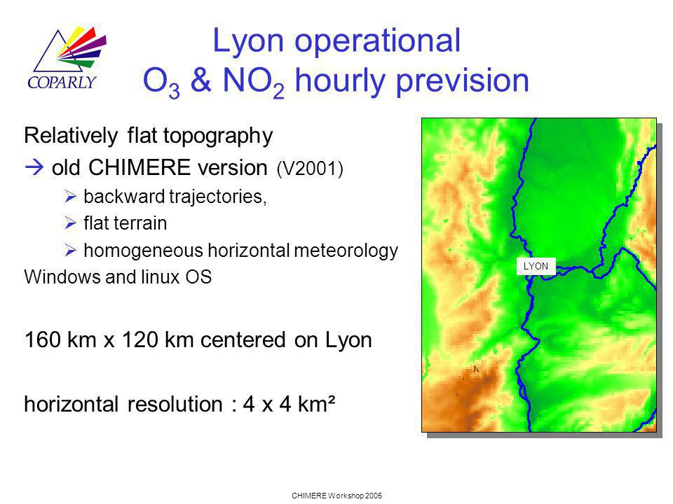 CHIMERE Workshop 2005 Lyon operational O 3 & NO 2 hourly prevision Relatively flat topography old CHIMERE version (V2001) backward trajectories, flat terrain homogeneous horizontal meteorology Windows and linux OS 160 km x 120 km centered on Lyon horizontal resolution : 4 x 4 km² LYON