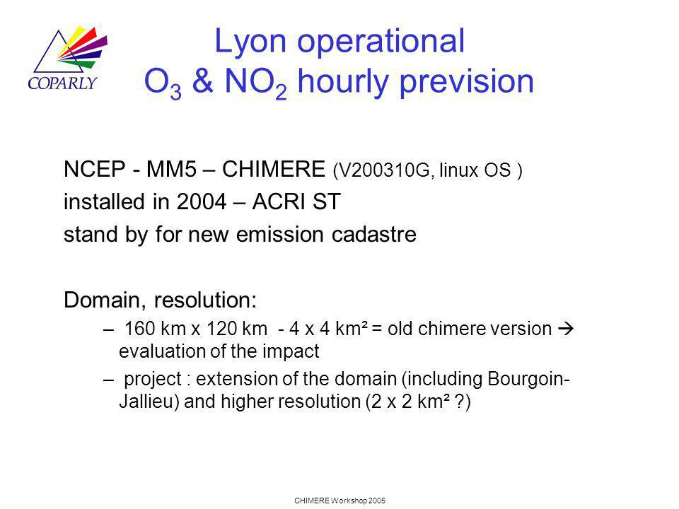 CHIMERE Workshop 2005 Lyon operational O 3 & NO 2 hourly prevision NCEP - MM5 – CHIMERE (V200310G, linux OS ) installed in 2004 – ACRI ST stand by for new emission cadastre Domain, resolution: – 160 km x 120 km - 4 x 4 km² = old chimere version evaluation of the impact – project : extension of the domain (including Bourgoin- Jallieu) and higher resolution (2 x 2 km² )