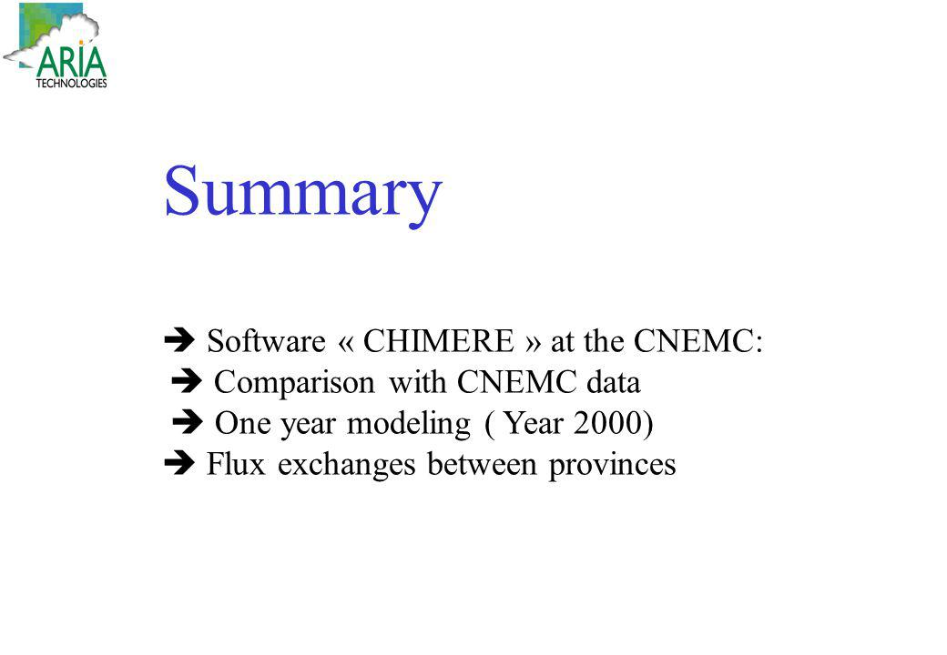 Summary Software « CHIMERE » at the CNEMC: Comparison with CNEMC data One year modeling ( Year 2000) Flux exchanges between provinces