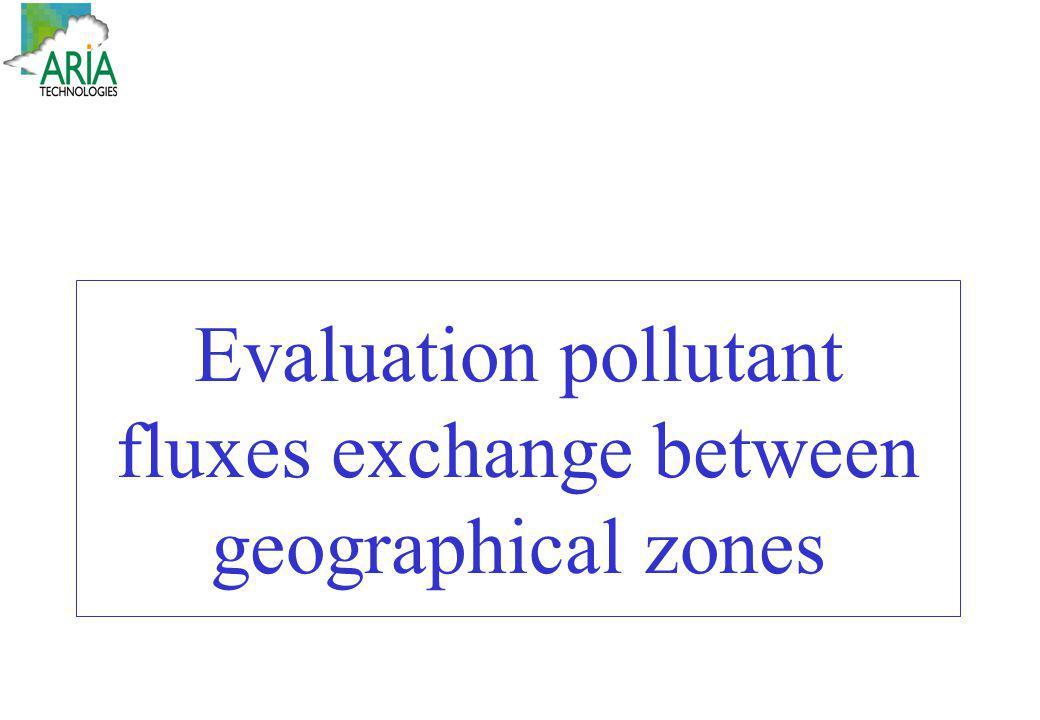 Evaluation pollutant fluxes exchange between geographical zones