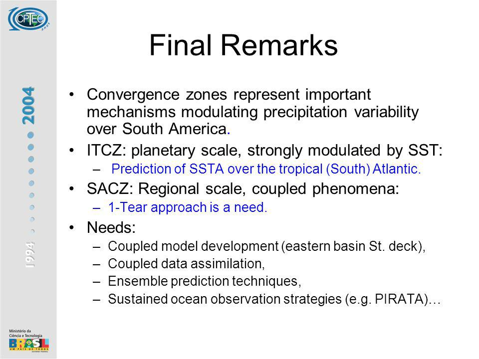 Final Remarks Convergence zones represent important mechanisms modulating precipitation variability over South America. ITCZ: planetary scale, strongl