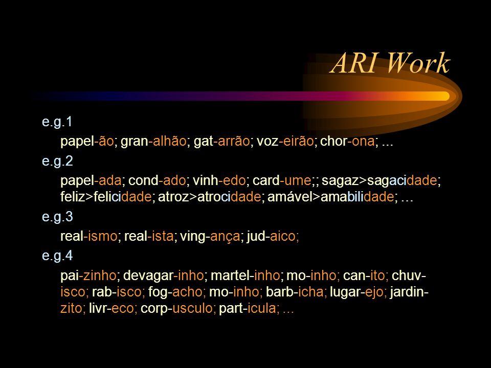 ARI Work e.g.1 papel-ão; gran-alhão; gat-arrão; voz-eirão; chor-ona;...