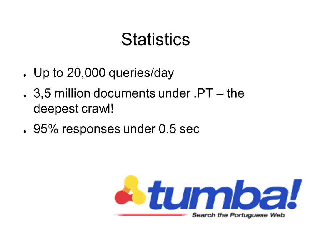 Statistics Up to 20,000 queries/day 3,5 million documents under.PT – the deepest crawl.