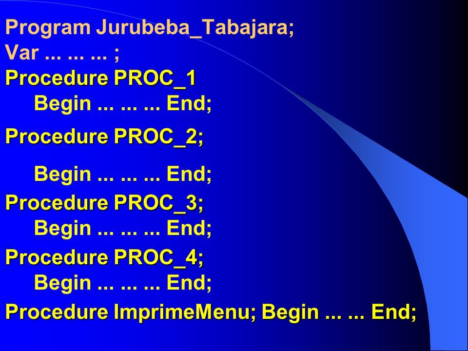 Program Jurubeba_Tabajara; Var......... ; Procedure PROC_1 Procedure PROC_1 Begin......... End; Procedure PROC_2; Begin......... End; Procedure PROC_3