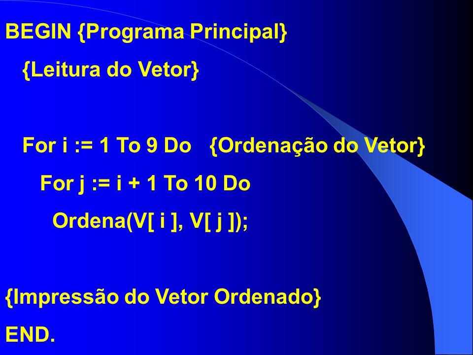 BEGIN {Programa Principal} {Leitura do Vetor} For i := 1 To 9 Do {Ordenação do Vetor} For j := i + 1 To 10 Do Ordena(V[ i ], V[ j ]); {Impressão do Ve