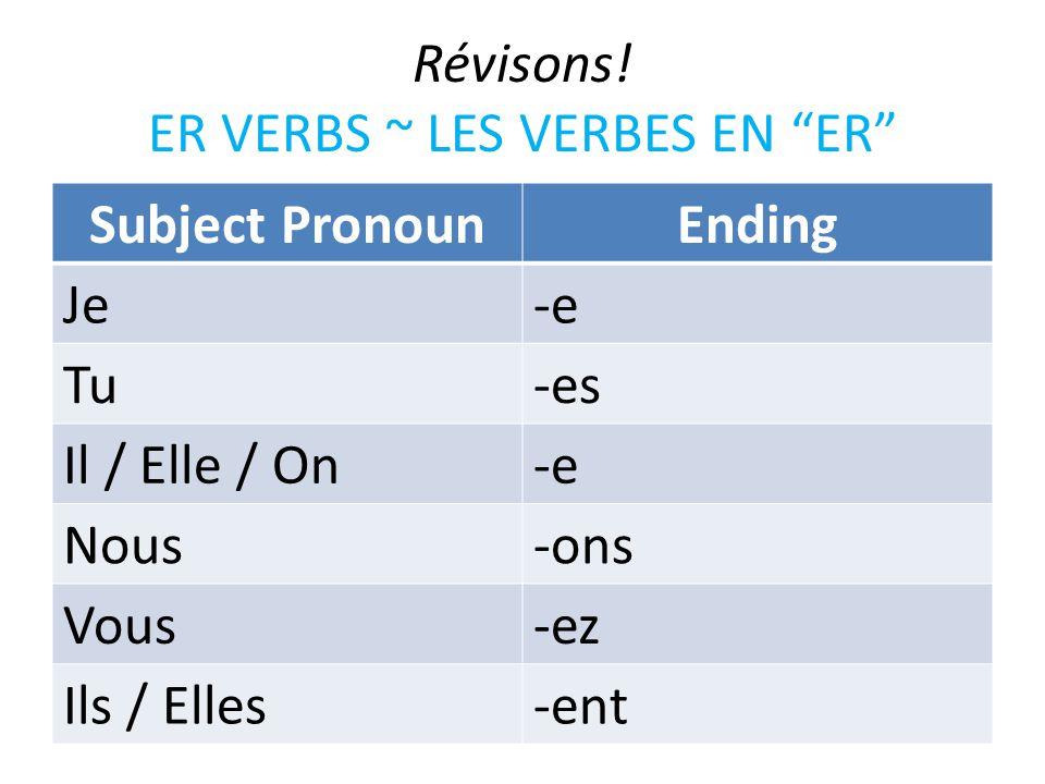 Révisons! ER VERBS ~ LES VERBES EN ER Subject PronounEnding Je-e Tu-es Il / Elle / On-e Nous-ons Vous-ez Ils / Elles-ent