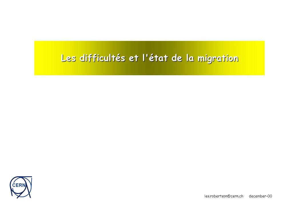 CERN les.robertson@cern.ch december-00 Les difficultés et l état de la migration