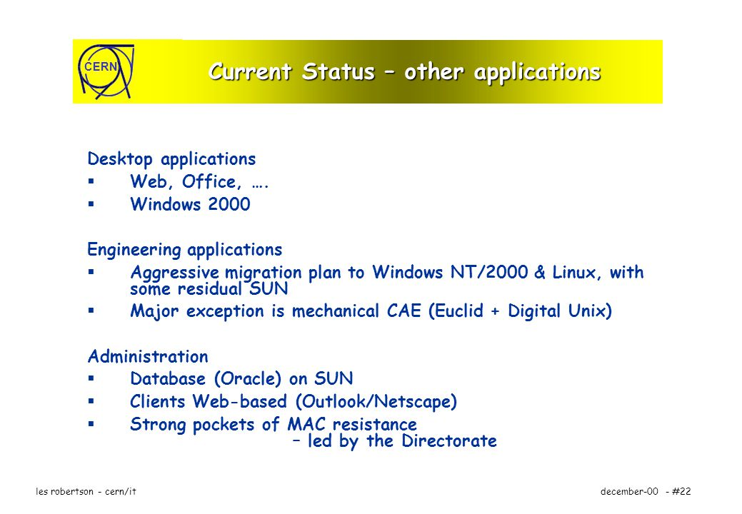 CERN december-00 - #22les robertson - cern/it Current Status – other applications Desktop applications Web, Office, ….