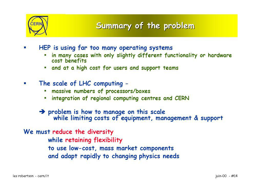 CERN juin-00 - #14les robertson - cern/it Summary of the problem HEP is using far too many operating systems in many cases with only slightly different functionality or hardware cost benefits and at a high cost for users and support teams The scale of LHC computing - massive numbers of processors/boxes integration of regional computing centres and CERN problem is how to manage on this scale while limiting costs of equipment, management & support We must reduce the diversity while retaining flexibility to use low-cost, mass market components and adapt rapidly to changing physics needs