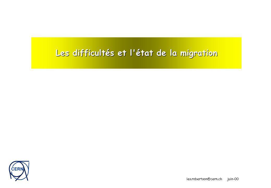 CERN les.robertson@cern.ch juin-00 Les difficultés et l état de la migration
