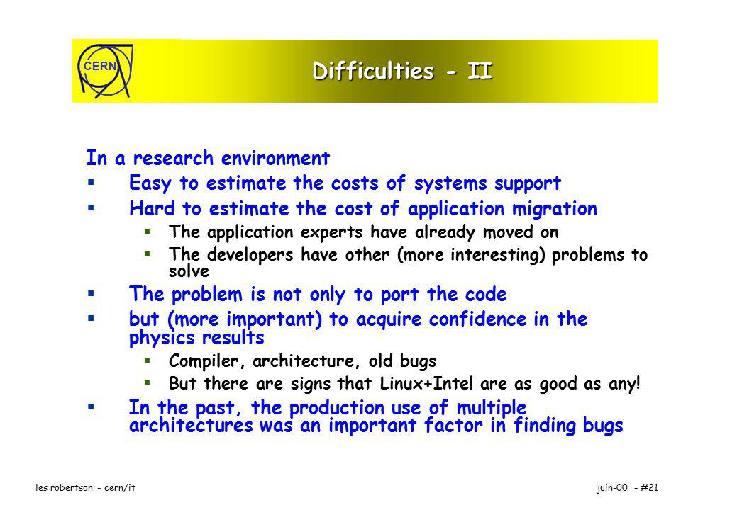 CERN juin-00 - #21les robertson - cern/it Difficulties - II In a research environment Easy to estimate the costs of systems support Hard to estimate the cost of application migration The application experts have already moved on The developers have other (more interesting) problems to solve The problem is not only to port the code but (more important) to acquire confidence in the physics results Compiler, architecture, old bugs But there are signs that Linux+Intel are as good as any.