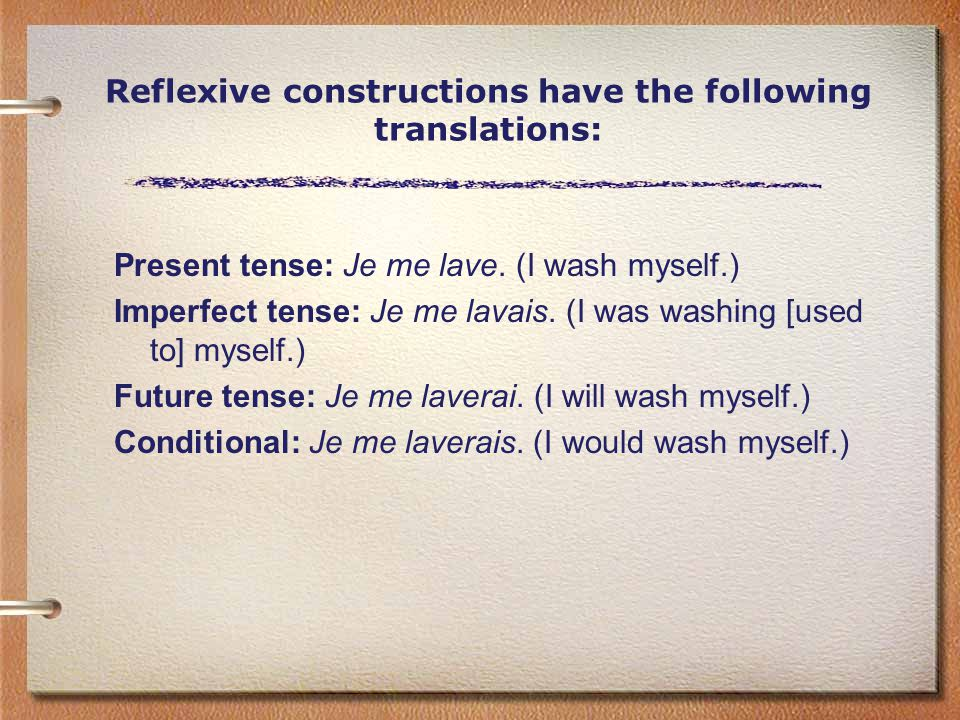 Reflexive constructions have the following translations: Present tense: Je me lave.