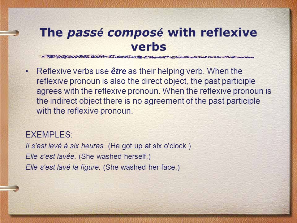 The pass é compos é with reflexive verbs Reflexive verbs use être as their helping verb.