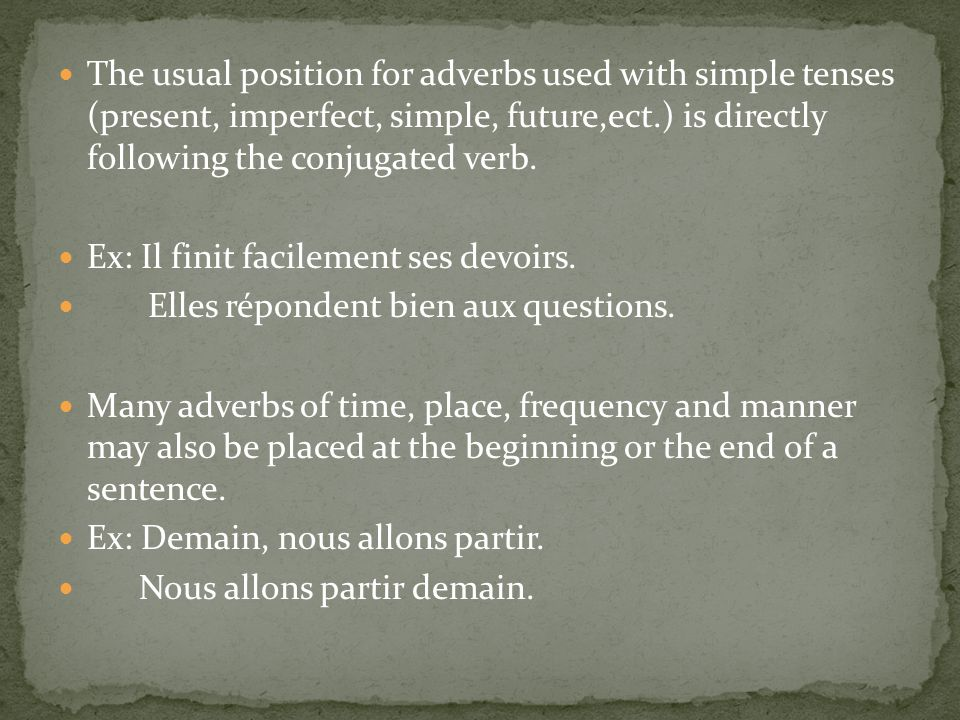 The usual position for adverbs used with simple tenses (present, imperfect, simple, future,ect.) is directly following the conjugated verb.