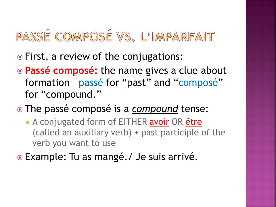 First, a review of the conjugations: Passé composé: the name gives a clue about formation – passé for past and composé for compound.