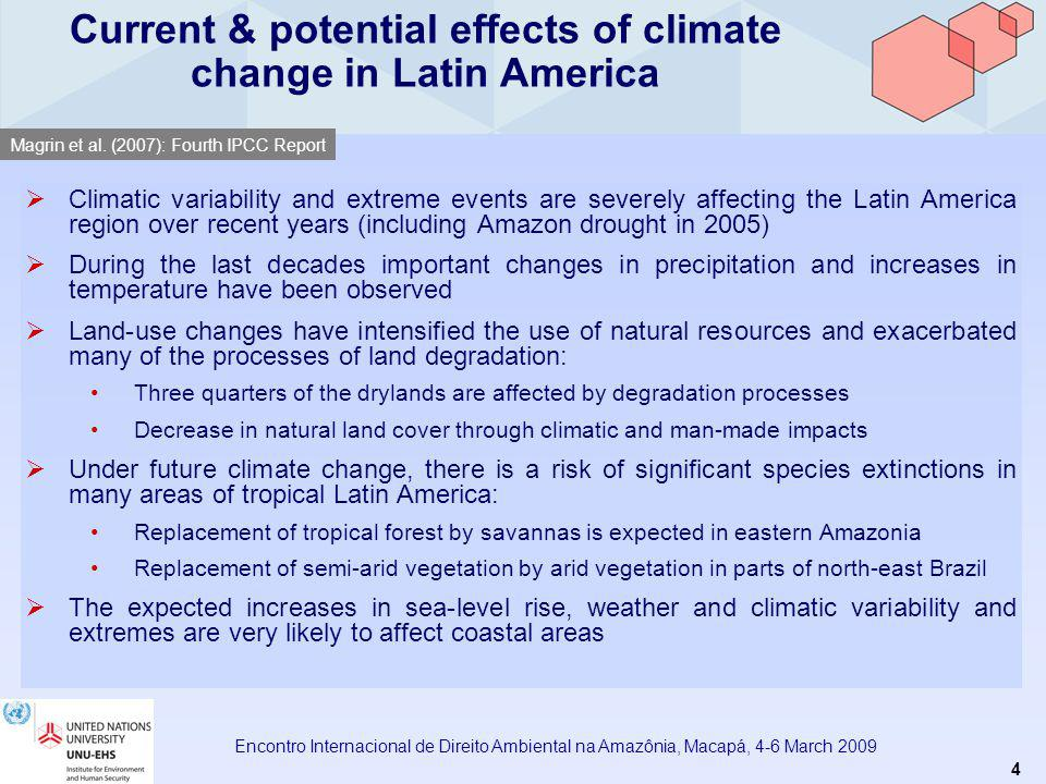 5 Encontro Internacional de Direito Ambiental na Amazônia, Macapá, 4-6 March 2009 Likelihood that future summer average temperatures exceed highest summer temperatures observed on record 2040-20602080-2100 Battisti et Naylor (2009): Historical warnings of future food insecurtiy with unprecedented historical heat.