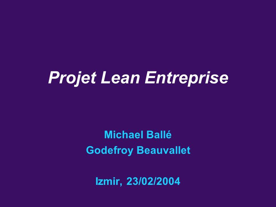 Projet Lean Entreprise 1 Michael Ballé Godefroy Beauvallet Izmir, 23/02/2004 Projet Lean Entreprise