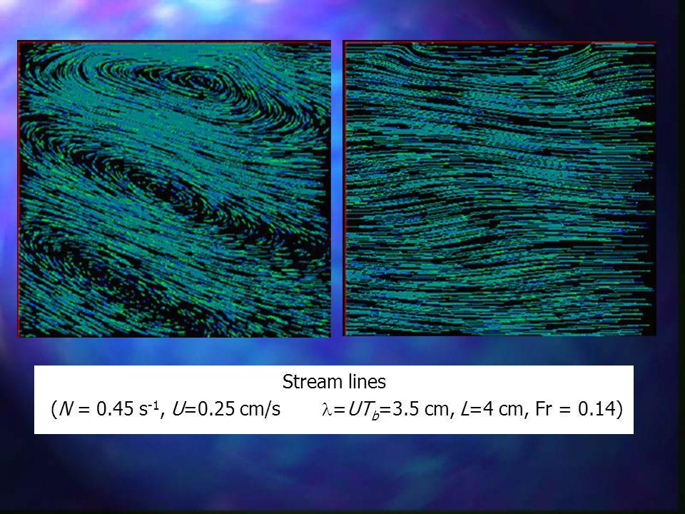 Stream lines (N = 0.45 s -1, U=0.25 cm/s =UT b =3.5 cm, L=4 cm, Fr = 0.14)