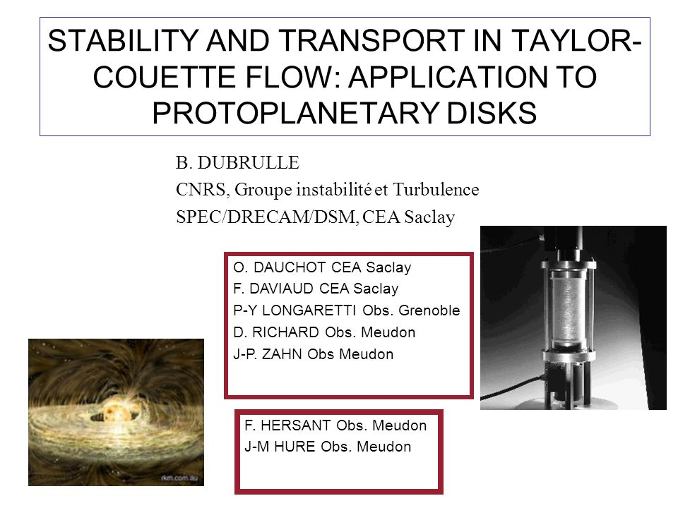 STABILITY AND TRANSPORT IN TAYLOR- COUETTE FLOW: APPLICATION TO PROTOPLANETARY DISKS B.