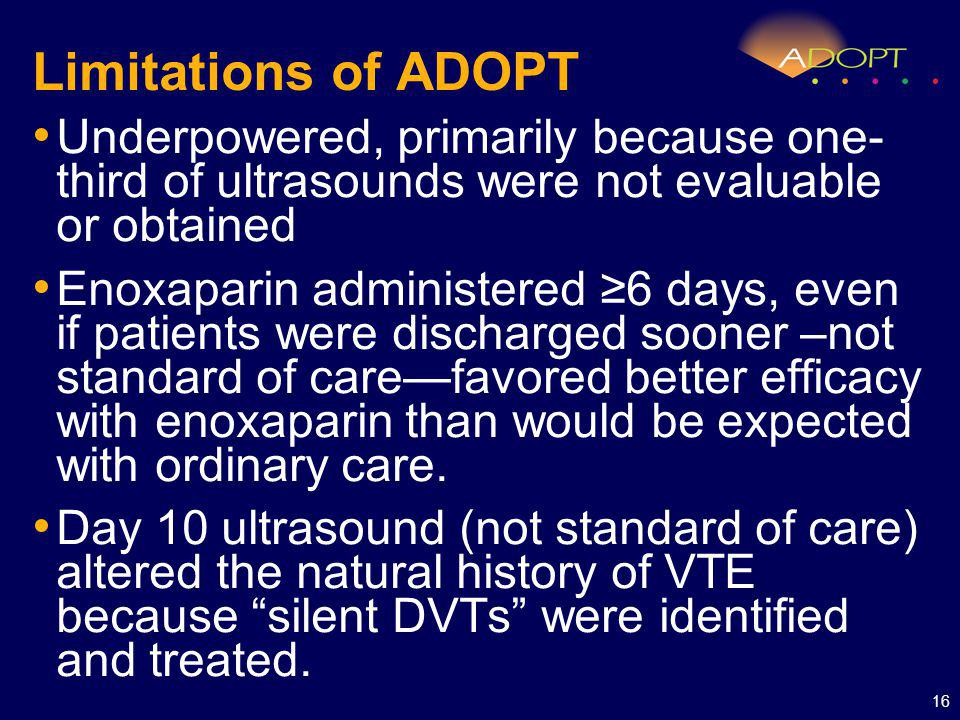 Limitations of ADOPT Underpowered, primarily because one- third of ultrasounds were not evaluable or obtained Enoxaparin administered 6 days, even if patients were discharged sooner –not standard of carefavored better efficacy with enoxaparin than would be expected with ordinary care.