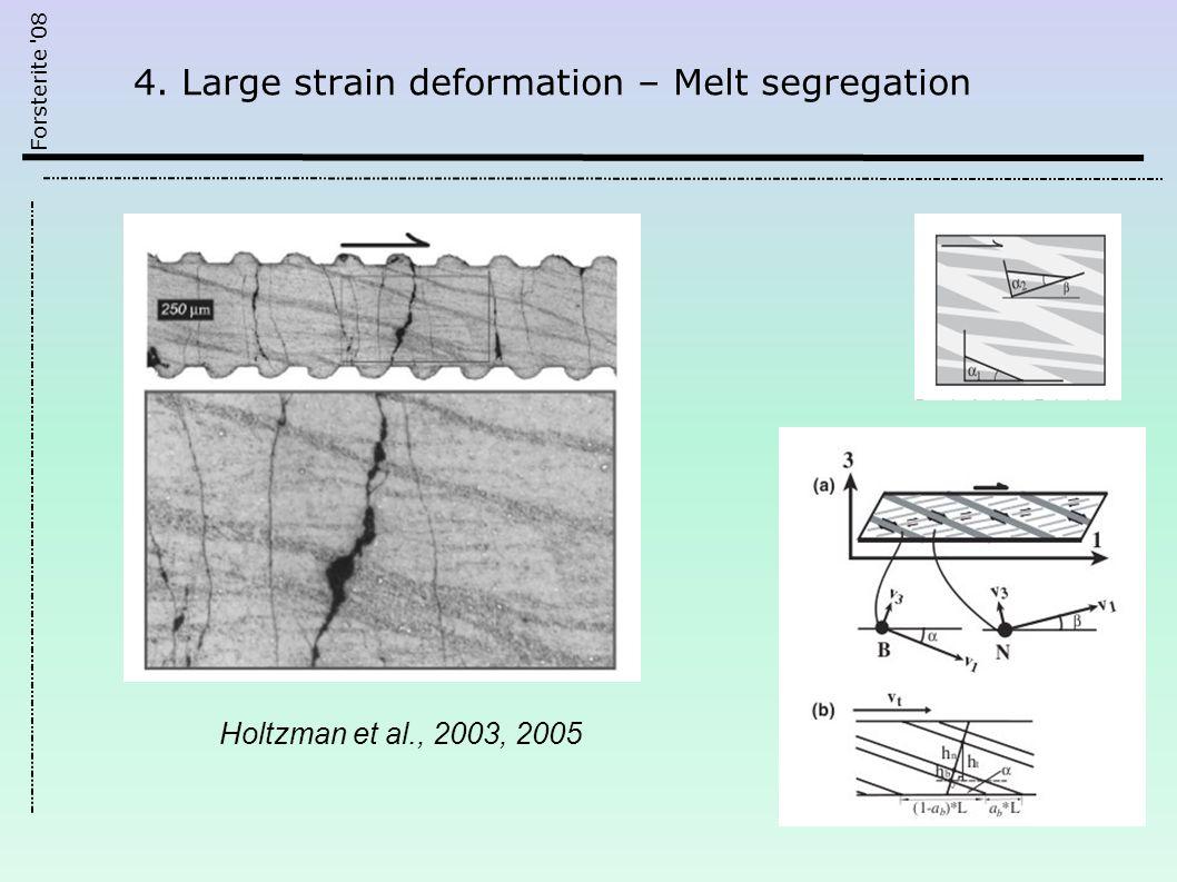 Forsterite 08 Holtzman et al., 2003, 2005 4. Large strain deformation – Melt segregation