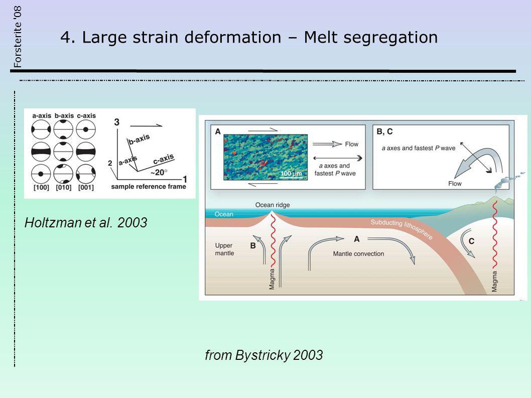 Forsterite 08 4. Large strain deformation – Melt segregation from Bystricky 2003 Holtzman et al.