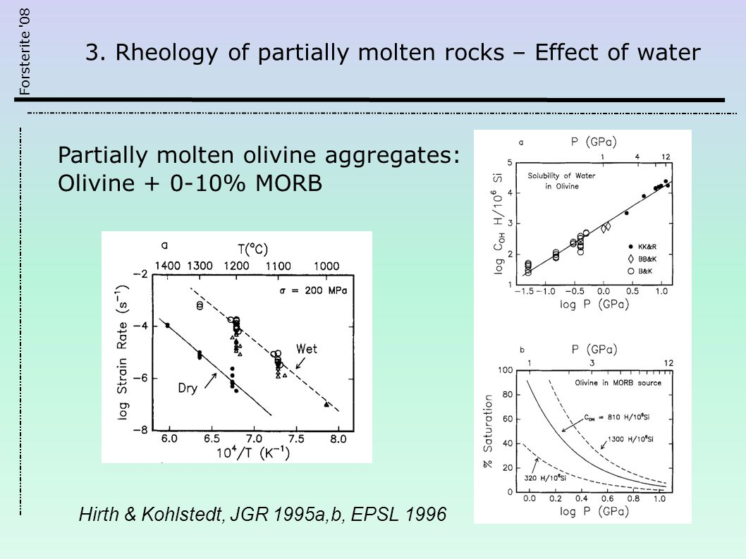 Forsterite '08 3. Rheology of partially molten rocks – Effect of water Hirth & Kohlstedt, JGR 1995a,b, EPSL 1996 Partially molten olivine aggregates: