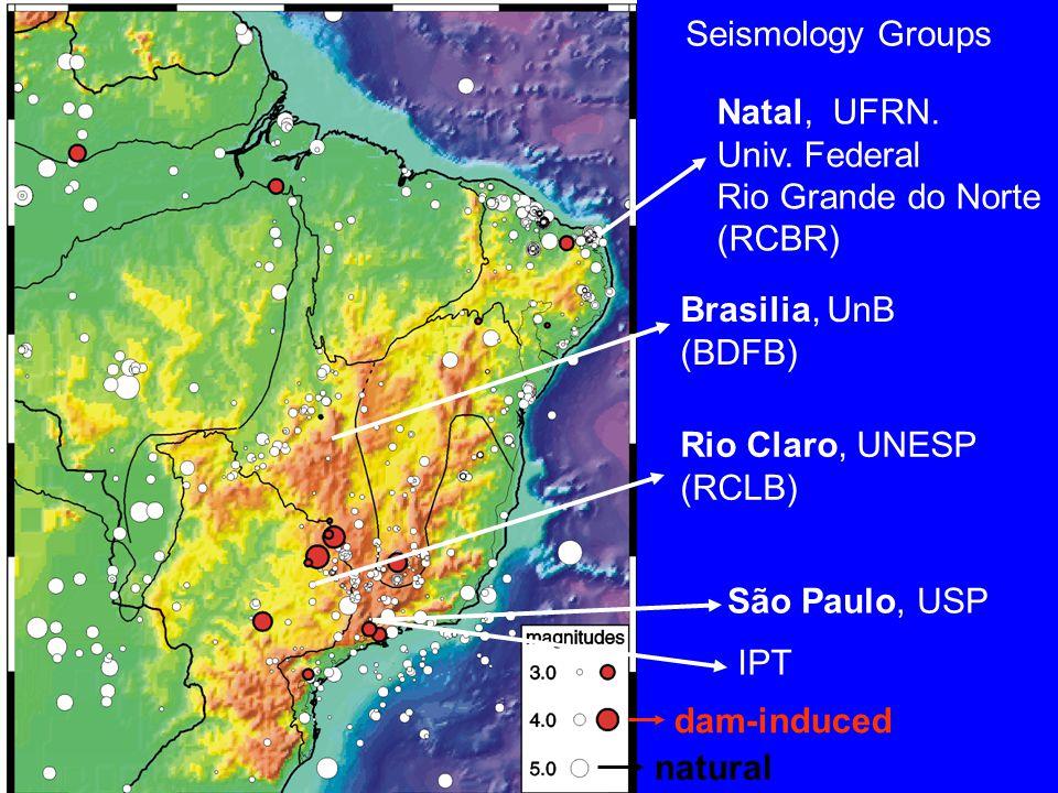 Rio Claro, UNESP (RCLB) Brasilia, UnB (BDFB) São Paulo, USP natural dam-induced Natal, UFRN.