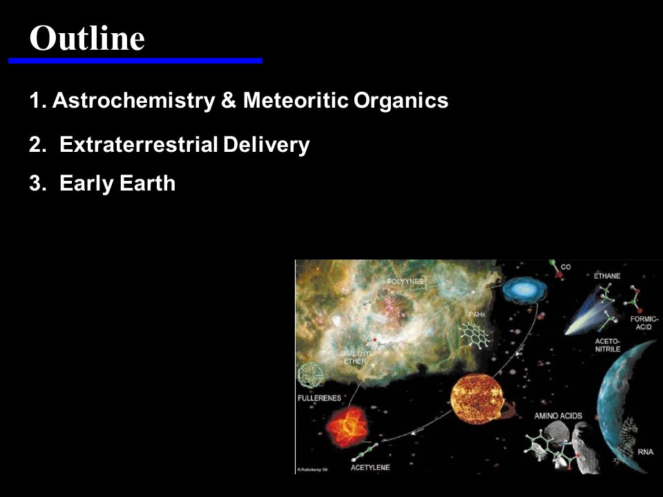Outline 1. Astrochemistry & Meteoritic Organics 2. Extraterrestrial Delivery 3. Early Earth