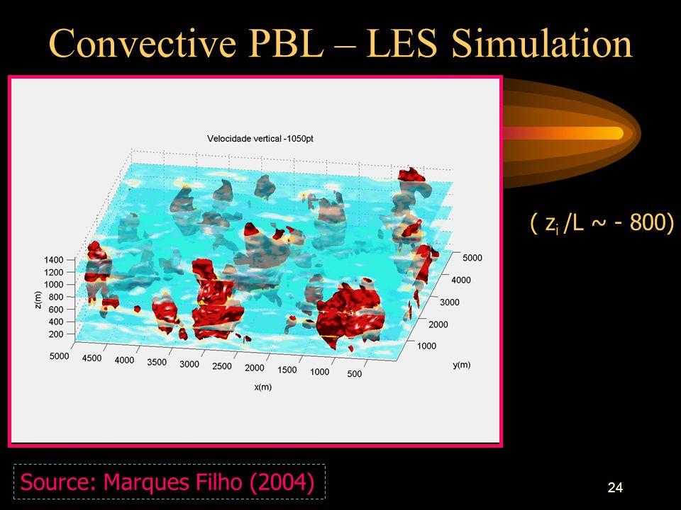 24 Convective PBL – LES Simulation Source: Marques Filho (2004) ( z i /L ~ - 800)