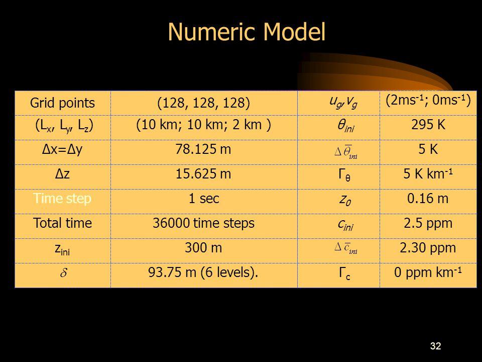 32 Grid points(128, 128, 128) u g,v g (2ms -1 ; 0ms -1 ) (L x, L y, L z )(10 km; 10 km; 2 km ) θ ini 295 K Δx=Δy78.125 m5 K Δz15.625 m Γ θ 5 K km -1 Time step1 sec z 0 0.16 m Total time36000 time steps c ini 2.5 ppm z ini 300 m2.30 ppm 93.75 m (6 levels).