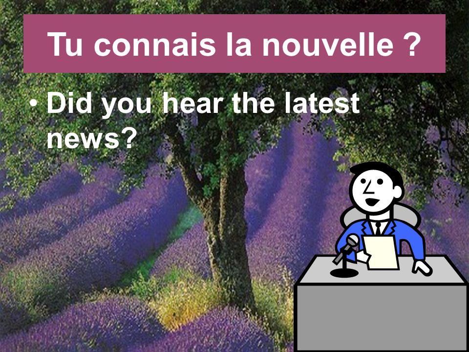 Tu connais la nouvelle Did you hear the latest news