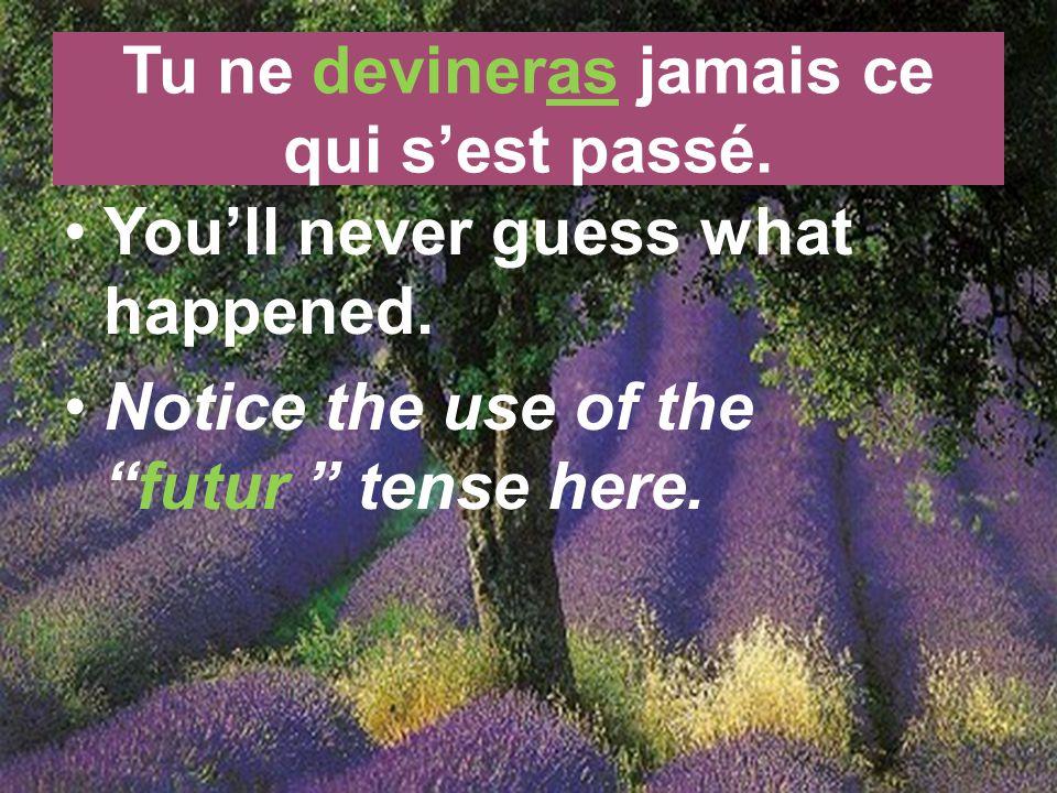le futur Its easy to conjugate a regular verb in the futur.