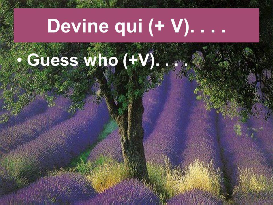 Devine qui (+ V).... Guess who (+V)....