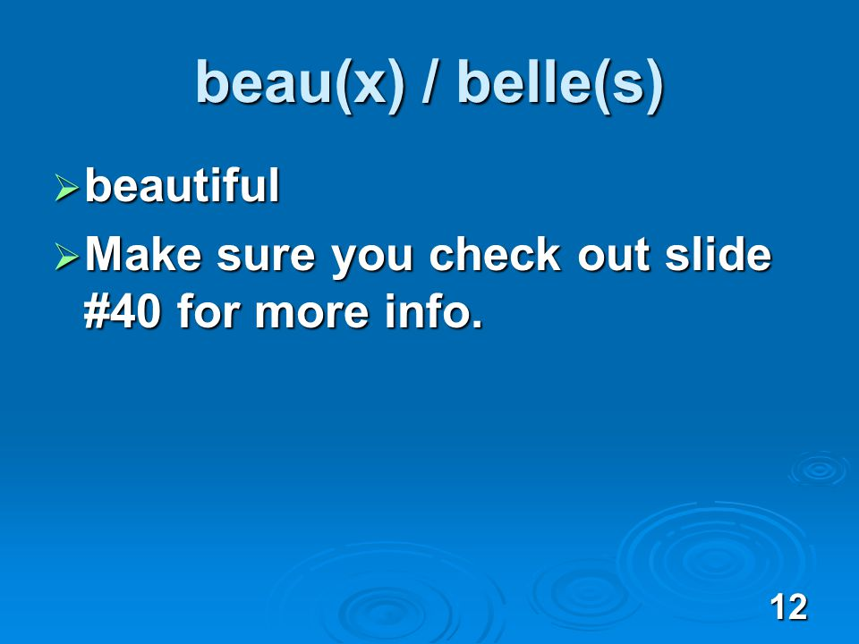 12 beau(x) / belle(s) beautiful beautiful Make sure you check out slide #40 for more info.
